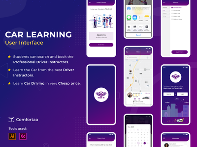 Car Learning UI flat logo website app web typography ux ui illustration design