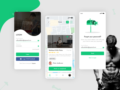 Fitness App Concept meal comment likes share trending ui top workout gym fitness app fresh design graphic design art branding typography website ux ui flat design app