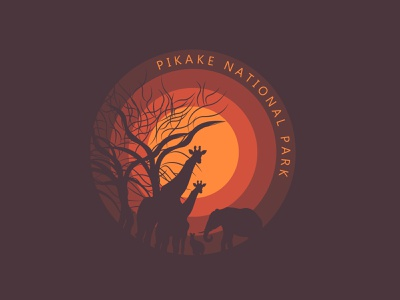 PIKAKE national park trees tree elephant kangaroo giraffe life wild nature zoo day20 illustration illustrator design branding vector logo dailylogochallenge national park national pikake