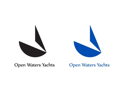 Open Waters Yachts color boat sailing water yacht blackandwhite design branding vector logo dailylogochallenge