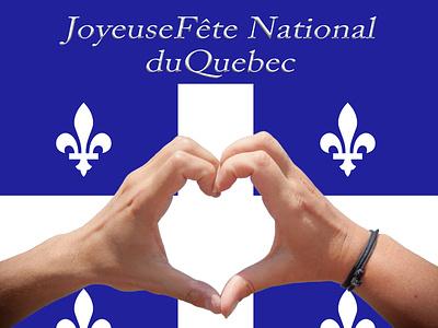 web banner: Joyeuse Fête National  du Quebec greeting card student project graphic design