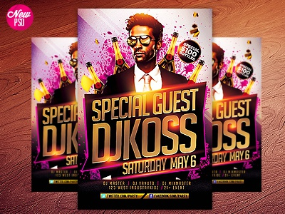 Guest Dj PSD Flyer Template special guest abstract birthday club concert dj dubstep electro electronic event event poster festival future guest dj house music industrykidz minimal moder modern music special guest dj techno poster flyer free freebie
