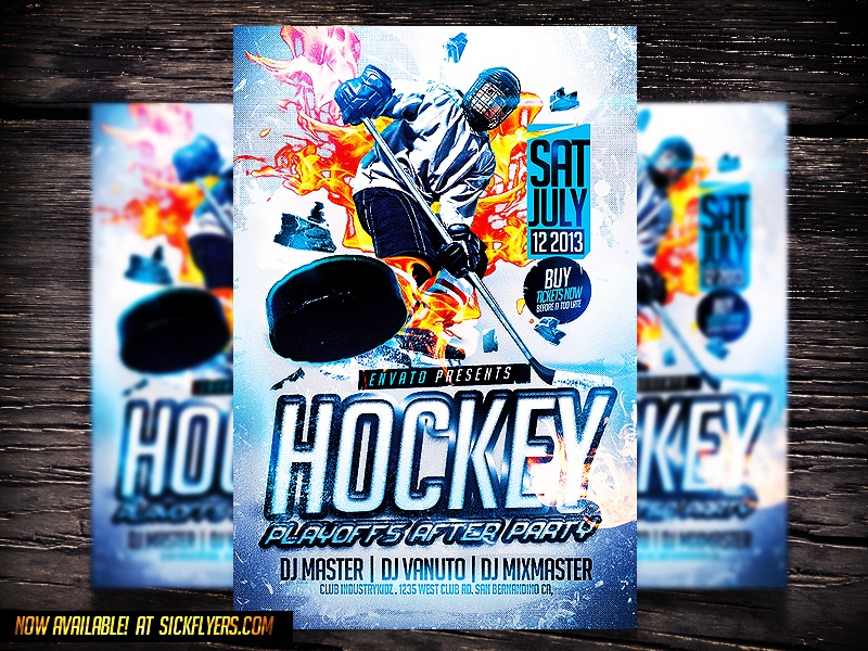 hockey psd flyer template by industrykidz dribbble. Black Bedroom Furniture Sets. Home Design Ideas