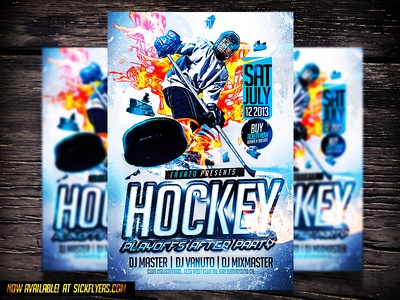 Hockey psd flyer template by industrykidz dribbble hockey psd flyer template maxwellsz