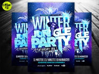 Winter Jungle Party Flyer Template PSD
