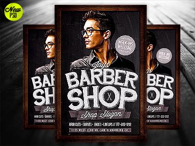 Barbershop Flyer Template PSD Barber Shop Psd Poster Chalk Chalkbord