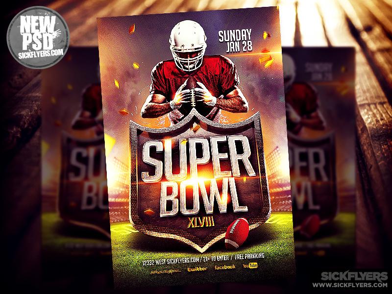 Super Bowl Flyer Template PSD super bowl flyer template psd poster football