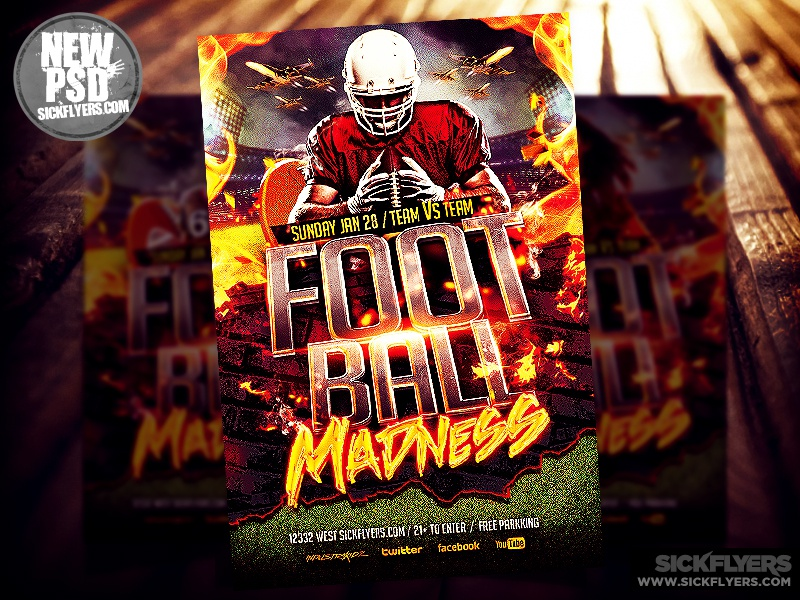 Football Madness Flyer Template PSD by Industrykidz Dribbble – Football Flyer Template