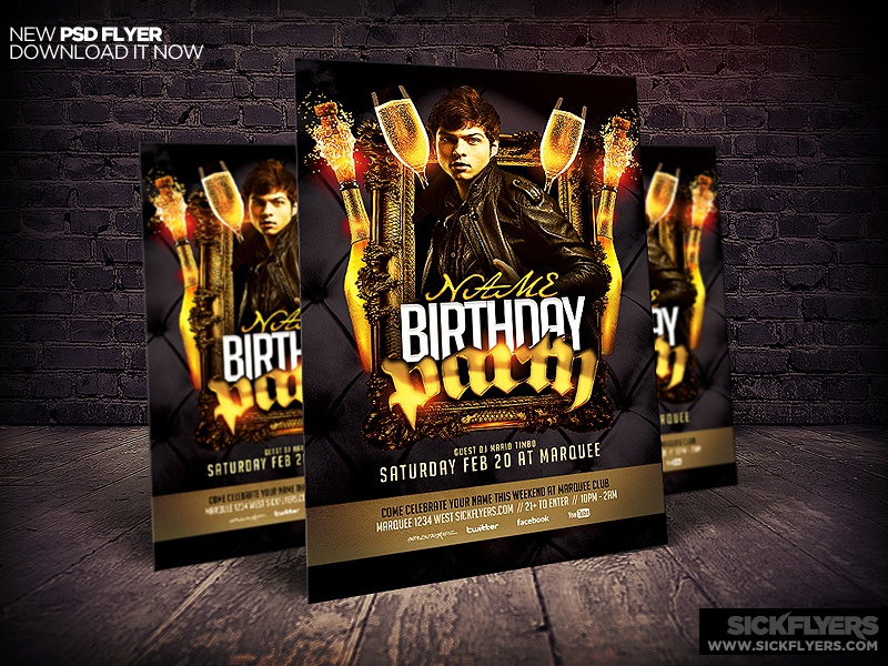 Birthday/Bachelor Party Flyer Template by Industrykidz - Dribbble