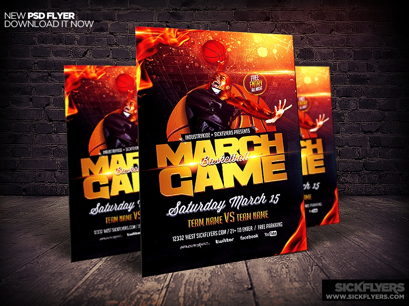 March Madness Basketball Flyer Template By Industrykidz Dribbble