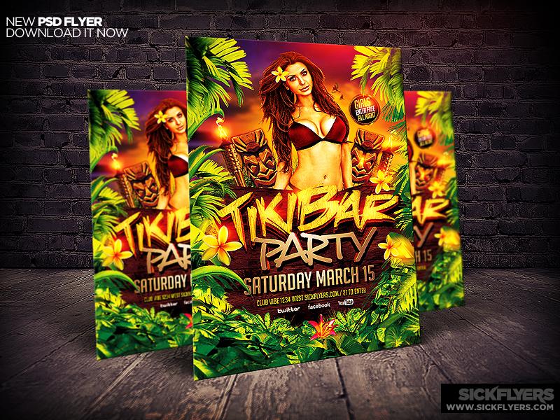 Tiki Bar Party Flyer Template Psd By Industrykidz Dribbble