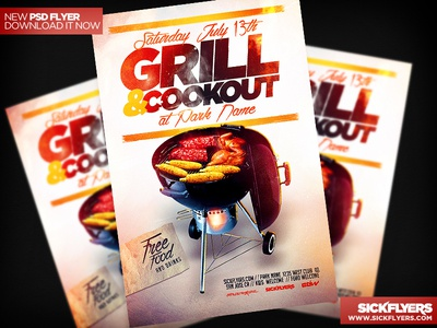 Cookout BBQ Flyer Template PSD cookout bbq flyer template psd