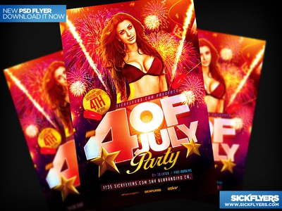 Four of July Party Flyer Template PSD four of july party flyer template psd
