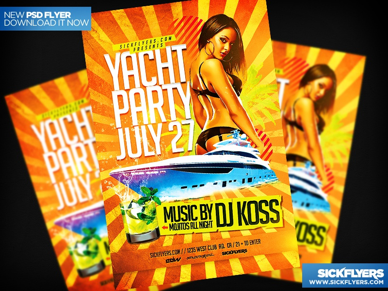 Yacht Party Flyer Template PSD yacht party flyer template psd yacht boat party