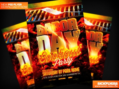 Labor day Cookout Flyer Template PSD labor day flyer template cookout bbq festival fire