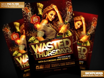 Wasted Thursdays Flyer Template PSD wasted thursdays flyer template psd