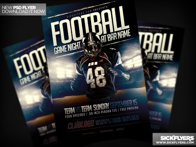Football Game Flyer Template PSD football game flyer template psd football game flyer template psd