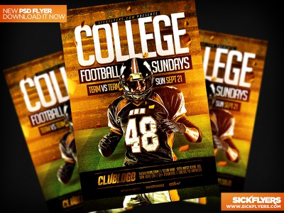 College Football Flyer Template PSD college football flyer template psd