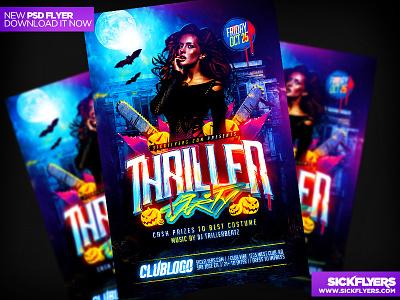 Thriller Halloween Party Flyer thriller halloween party flyer thriller halloween party flyer