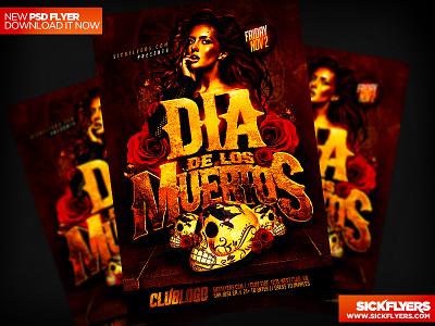 Dia De Los Muertos Flyer PSD dia de los muertos flyer psd day of the dead sugar skulls mexican