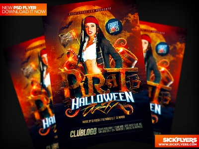 Pirate Party Flyer Template PSD pirate party flyer template psd pirate columbus day halloween