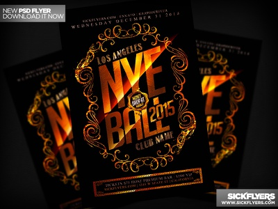 New Years Flyer PSD new years flyer psd psd new years nye flyer poster gold