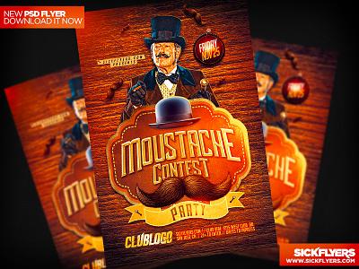 Movember Flyer PSD movember flyer psd movember psd moustache cancer contest poster steam punk