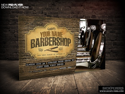 Barbershop Flyer Template Horizontal PSD barbershop flyer template horizontal psd
