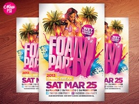 Foam Party Flyer PSD
