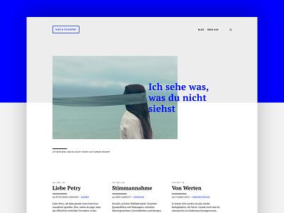 Blog design blue writing typography clean minimal blog webdesign