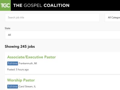 The Gospel Coalition Job Board vuejs craftcms job board the gospel coalition tgc