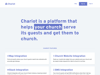Chariot - ride sharing for churches landing page design landing page