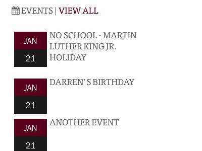 Event listing home school website event list