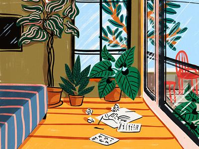 The Creative Process traditional art digital art illustrator story concept creative room city new york succulents plants hand drawn fun abstract bright humor illustration interior