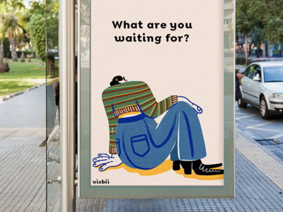 What Are You Waiting For? 60s advertisement fun digital art fashion retro humor bold character hand drawn visbii illustration billboard