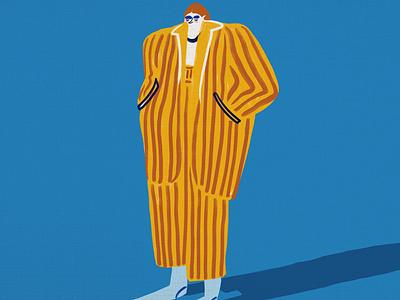 Apollo stripes emotional morning loungewear sad depression abstract design character visbii illustration abstract art hand drawn yellow bright poppy fun blue retro drawing