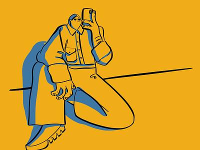 Waiting For Uber Eats new food culinary man woman fun humor bright bold minimal flat yellow visbii digital art hand drawn illustration art illustration character phone tech