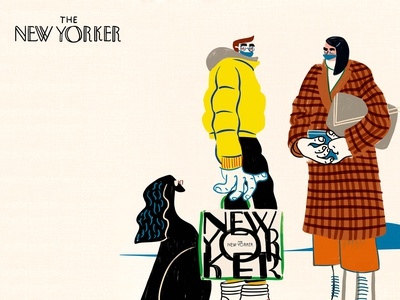 The New Yorker weird coats winter neon plaid dog fall fashion art concept abstract bold bright humor character hand drawn illustration visbii news new york