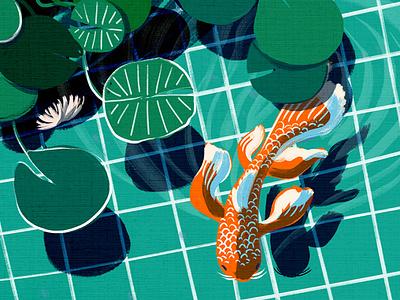 Little Swimmer art digital art fun bold humor bright hand drawn visbii illustration nature koi