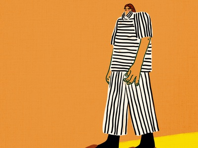 Stripes on Stripes orange exciting emotional expressive stripes silly minimal fashion abstract bold digital art character humor bright hand drawn visbii illustration
