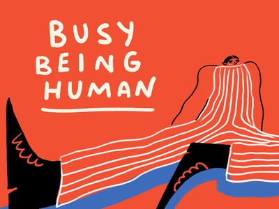 Busy Being Human magazine advertisement editorial illustration red editorial concept fashion digital art character bold humor bright hand drawn visbii illustration