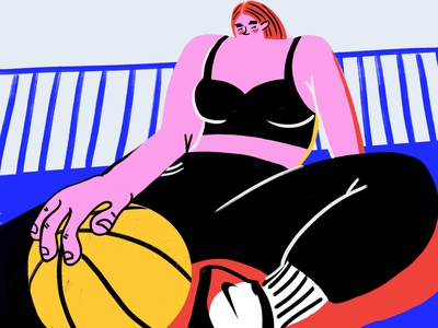 PLAY IT OUT sportswear catchy editorial magazine advertisement activewear pink active sports sport retro digital art fun character bold humor bright hand drawn visbii illustration