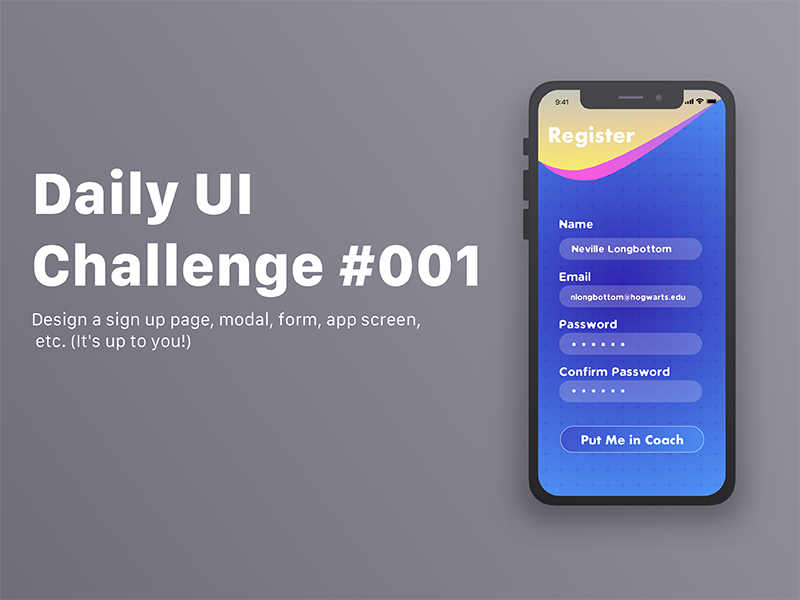 Sign Up register sign up user experience user interface ui iphonex