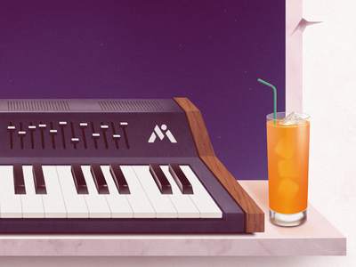 Fruitful detail view airbrush drink marble window keys piano juice fruit synth illustration lp music