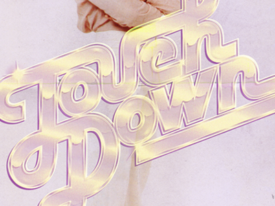 Touchdown typography vintage retro 70s airbrush custom type lettering disco boogie shiny