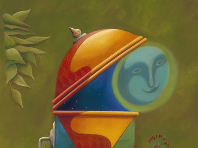 Man in the Moon in the Box painting paint artist