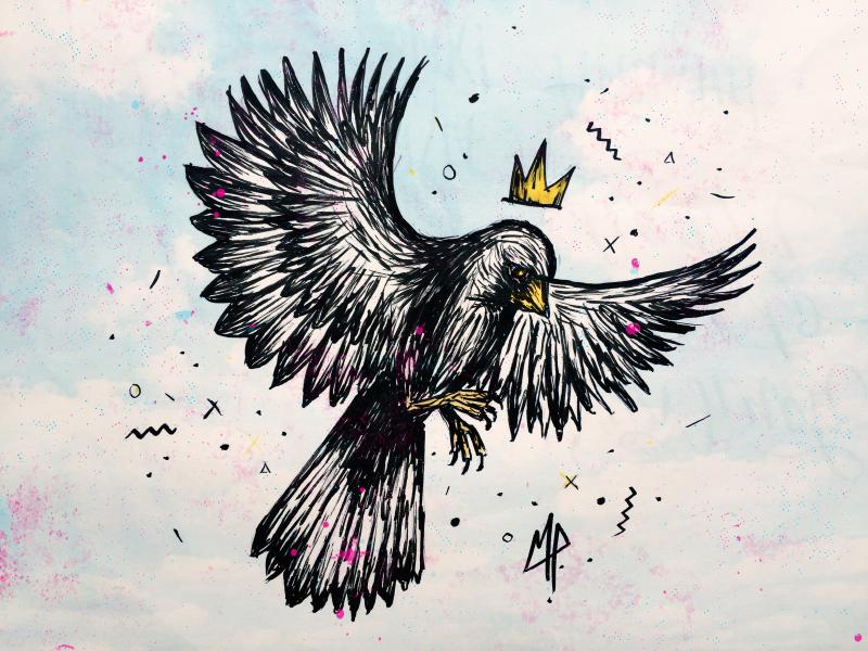 in flight sky grunge bird crown ink drawing handdrawn illustration