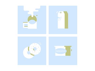 dimanche petit déjeuner cream cheese philadelphia oatly milk morning sunday breakfast illustrator design colors vector ui flat illustration
