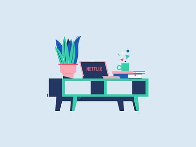 Netflix & Chill colors graphic design vector flat illustration