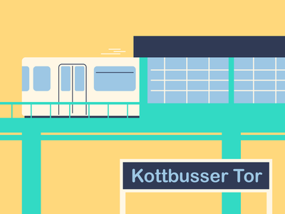 Kotti kottbusser tor u-bahn vector berlin colours illustrator illustrattion